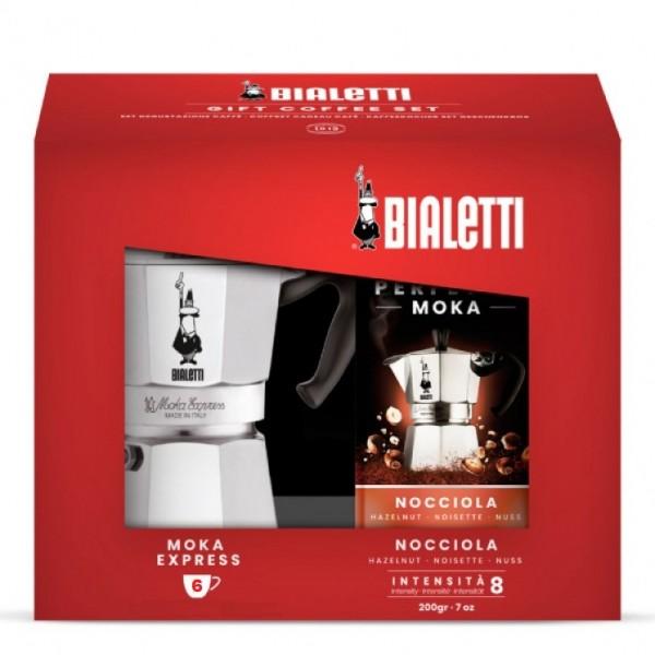 Bialetti Комплект Moka Express за 6ч + 200 гр мляно кафе лешник Bialetti Perfetto