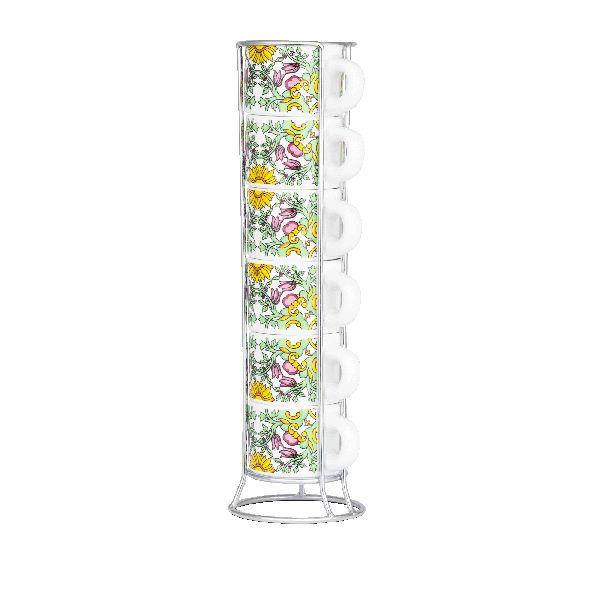 Bialetti комплект от 6 еспресо чаши със стойка Primavera