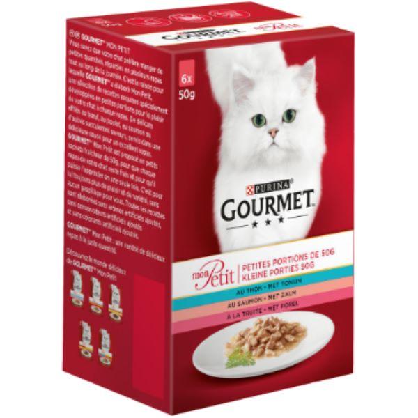 Котешка Храна Gourmet® Mon Petit Със Сьомга, Риба Тон, Пъстърва 6 Х 50g
