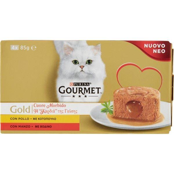 Котешка Храна GOURMET® GOLD Хапки в сос с Говеждо и Пиле, 4х 85g