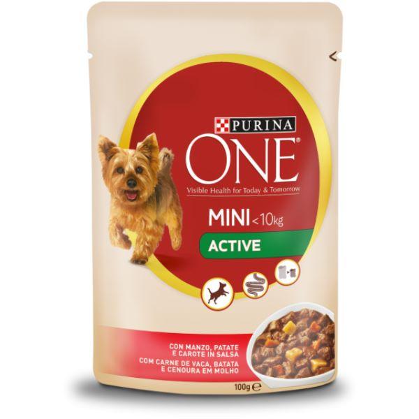 Кучешка Храна Purina One Mini <10kg Active С Говеждо И Мокркови 100гр