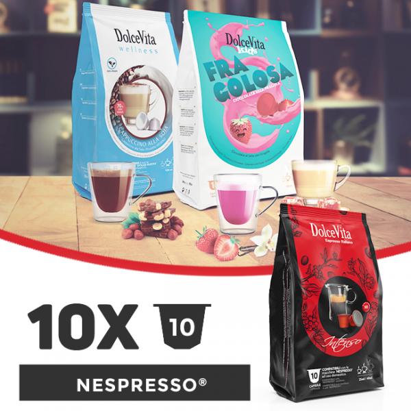 Dolce Vita съвместими капсули за Nespresso - 10 пакета х 10 бр.