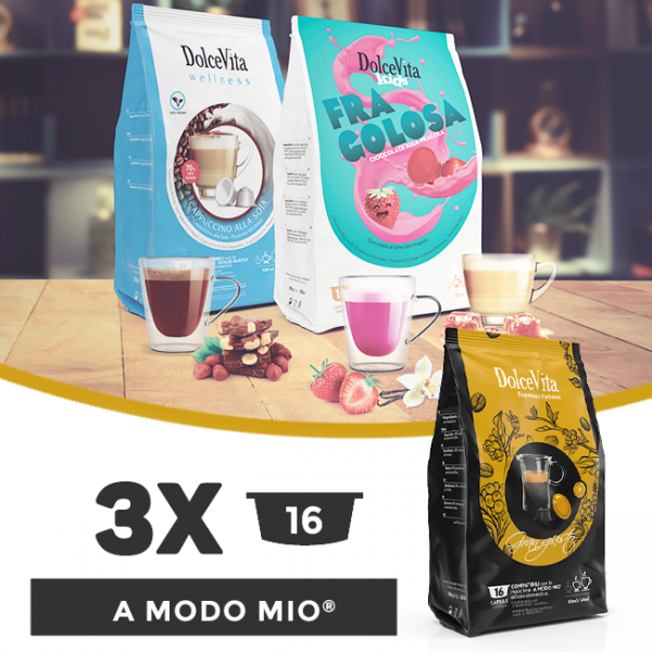 Dolce Vita съвместими капсули за Lavazza A Modo Mio - 3 пакета х 16 бр.