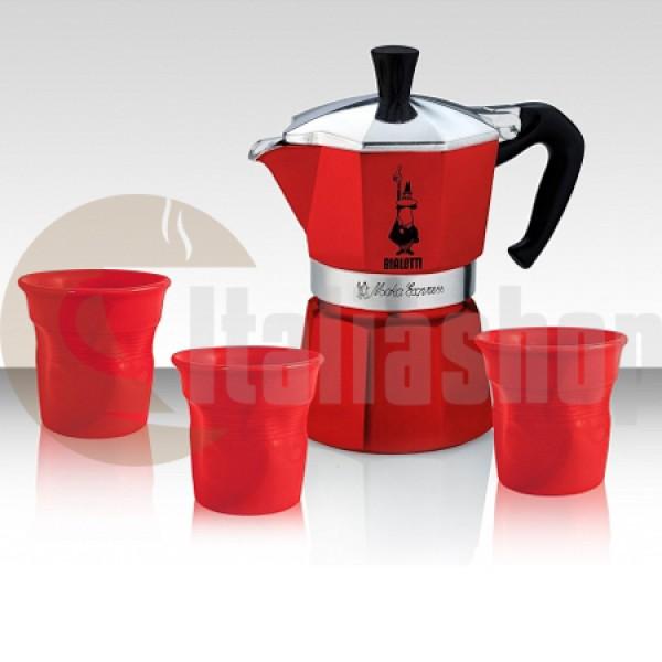 Bialetti Moka Express Set За 3 Чаши С 3 Лимитирани Чаши В Цвят Червен