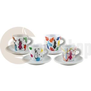 Bialetti  Порцеланови Чаши За Кафе- 4 Бр., Вместимост-100-120 Мл.