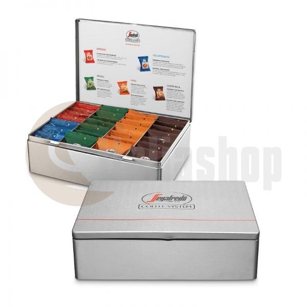 Segafredo метална кутия с 28 капсули микс