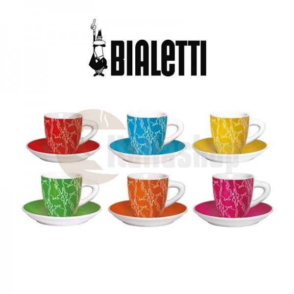 Bialetti комплект 6 чаши и чинийки различни цветове 1241