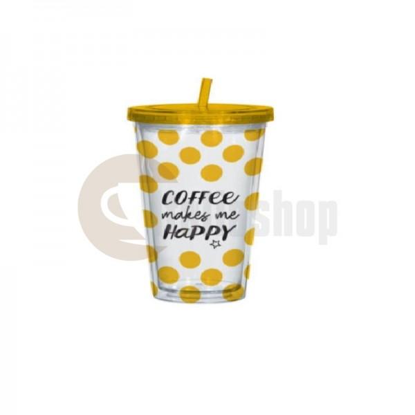 Bialetti Чаша със сламка Жълта 1246