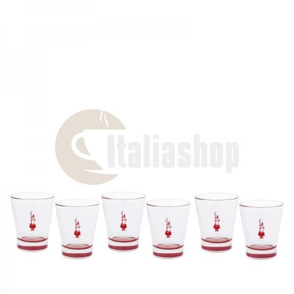 Bialetti комплект 6 чаши Vetro Rossi 1299