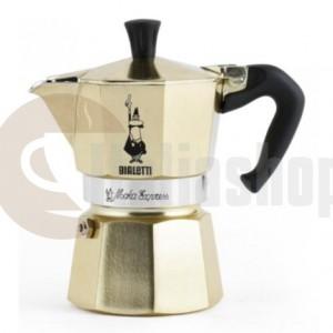 Bialetti Moka Express 3301 за 3 чаши, лимитиран цвят златен + ръчен уред за капучино