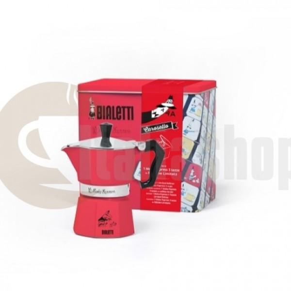 Bialetti Moka Express Carosello 3497 за 3 чаши лимитиран цвят червен + тефтерче