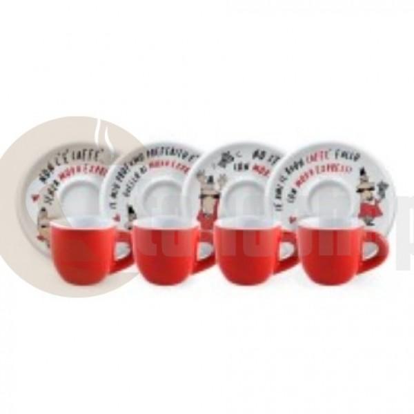 Bialetti Tazzine Moka 3487 4 чаши за кафе с 4 чинии
